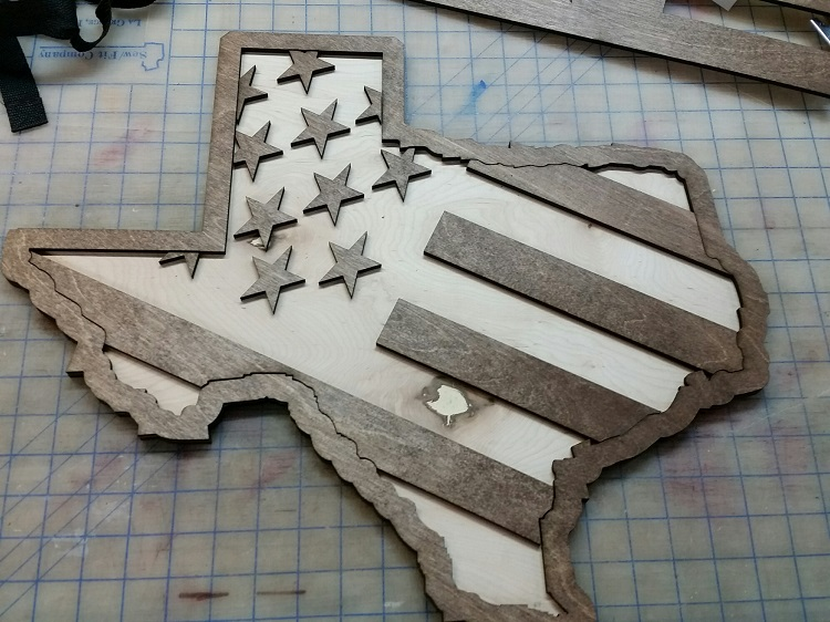 Texas Stars and Stripes Laser Engrave