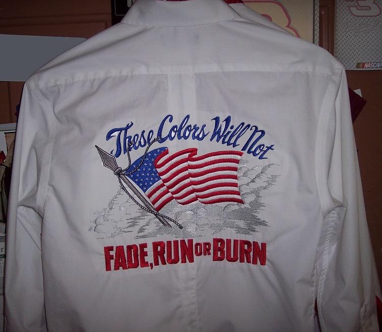American Flag Shirt Embriodery