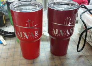 Calvary Baptist Bowie Yeti Power Coating Laser Engraving