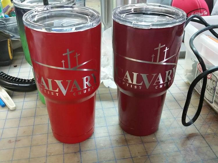 Calvary Baptist Bowie Yeti Power Coating Laser Engraving